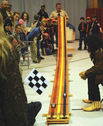 Submitted<br><br> Future leaders: Golden Valley Cub Scouts Pack 57 participates in special activites every month. Here,  they cheer at the annual Pinewood Derby.