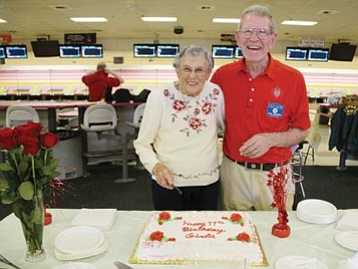 JC AMBERLYN/Miner<br> Girlie and Jack Stanton at Cerbat Lanes Thursday. Girlie turned 99 years old Saturday.