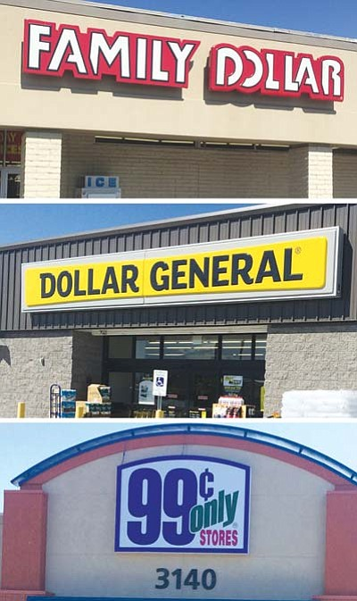HUBBLE RAY SMITH/Miner<BR> A Family Dollar at 3280 Stockton Hill Road (top),  one of four Dollar Generals in the Kingman area (middle), and the 99 Cents Only store on Stockton Hill Road (bottom).