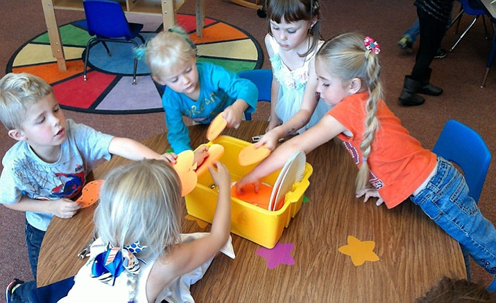 Students in one of Chino Valley's Territorial Early Childhood Center explore an activity.