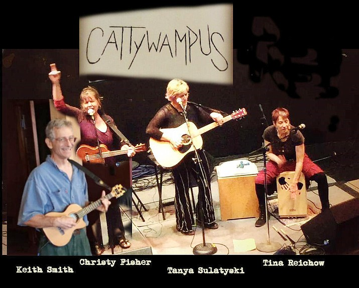 Cattywampus is the innovative musical collaboration consisting of Christy Fisher (keyboard/ukulele/vocals), Tina Reichow (percussion/melodica/vocals), Tanya Sulatyski (sound effects/guitar/vocals), and Keith Smith (lead ukulele). Christy, Tina, and Keith all met as members of the Jerome Ukulele Orchestra.