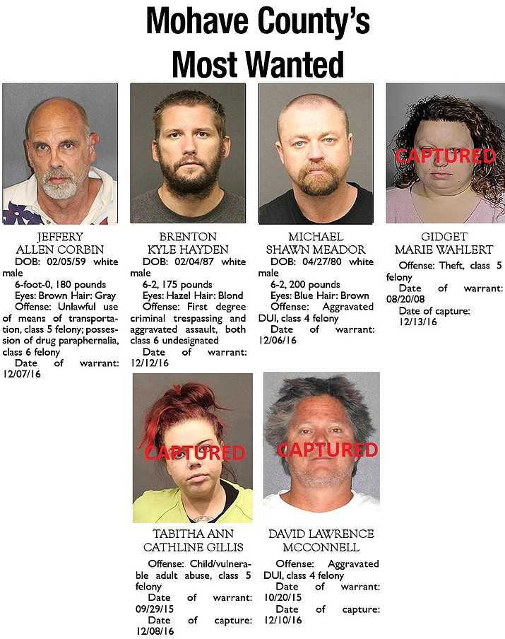 Mohave County's Most Wanted: Dec. 19, 2016