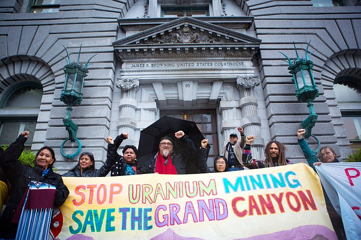 Havasupai tribe members and supporters stand outside the the Ninth Circuit Court of Appeals in San Francisco, California Dec. 15.