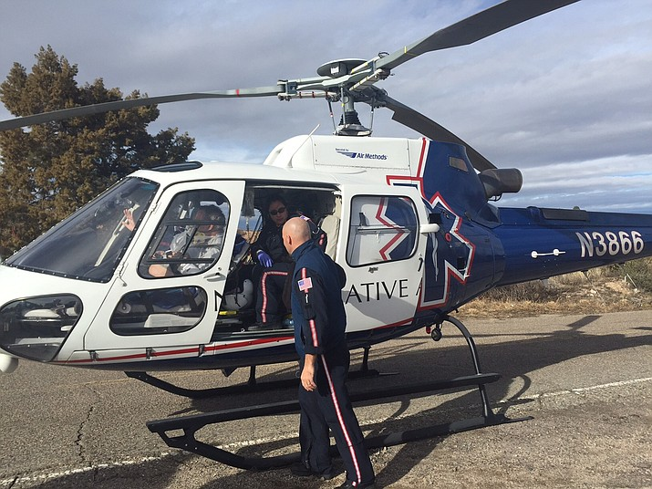 A 71-year-old man who was bucked off a mule Wednesday afternoon, Jan. 4, sits in a helicopter that flew him to a level one trauma center in Phoenix.