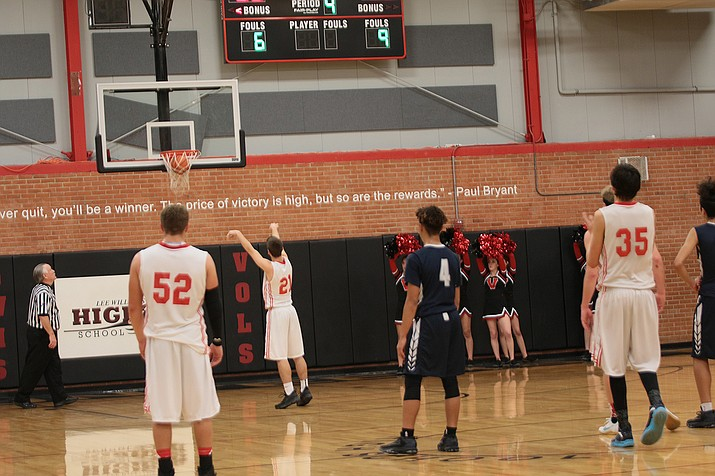 Lee Williams guard Chase Williams makes a free throw against Tempe in the third quarter of Saturday night's game. The Volunteers won 61-54.