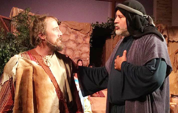 Wyatt Duncan and Rudy Rodriguez, both from Cottonwood, play the prodigal son and his father in Letters from Luke. Photo courtesy of Potter's Hand Productions.