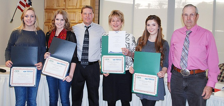 Pictured from left to right, Loni Faith Ferguson of Camp Verde High School; Alana Langdon of Mingus High School; V'ACTE Superintendent Bob Weir; Maureen Barton, Digital Communications Teacher from Sedona Red Rock High School; Annie Koepke of Sedona Red Rock High School, nominated by Maureen Barton, Digital Communications; and V'ACTE board member Steve Dockray.