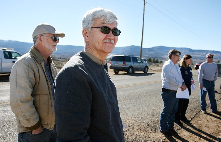 With realtors, brokers, council members and Town of Camp Verde leaders present, Tierra Verde Builders owner John Bassous talks about the new Castle Heights project. (VVN/Bill Helm)