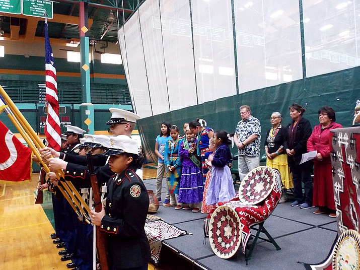 Tuba City High School MJROTC posts the colors at the cultural symposium at Tuba City High School. The event was for students, staff members and community members. Photo/Rosanda Suetopka