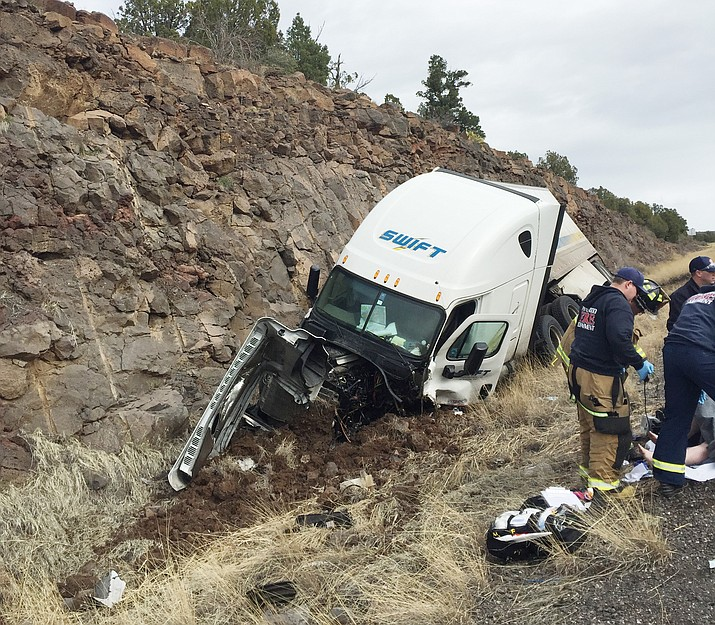 One patient was treated by DPS Ranger helicopter medic with assistance from Copper Canyon Fire and Medical. The second patient was treated by Pinewood Fire District. Both patients were transported to an area hospital following this two-vehicle crash on I-17 near Camp Verde Sunday. (Photo courtesy CCFMA)