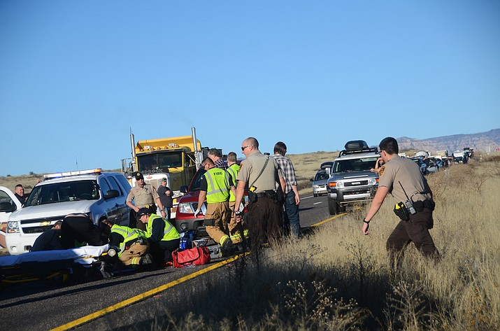 Emergency crews were dispatched Wednesday afternoon after a vehicle struck a pedestrian on SR 89A at milepost 359. (VVN/Vyto Starinskas)