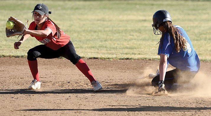 Mingus Union sophomore utility player Maddie Bejarano, catches the ball at Prescott last season. Bejarano is among the returning Lady Marauders that Mingus Union head coach John Brown thinks might be his best yet. (Photo courtesy Daily Courier)