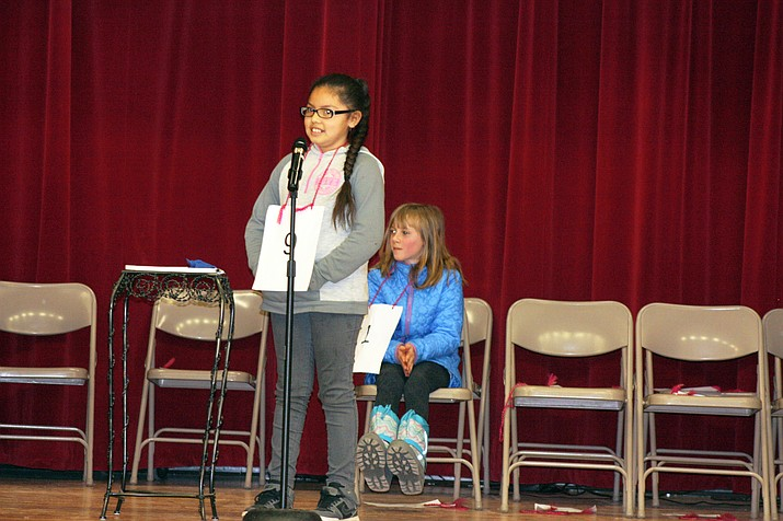 Fifth grader Xochitl Galvan was declared the winner of the Grand Canyon School spelling bee after a 10-round face-off with third grader Amelia Walls.
