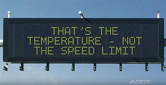 One of the overhead signs from last years contest winner. (Courtesy of ADOT)