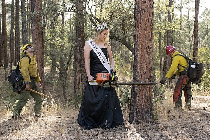 Local wildland firefighter Cheyenne Warner combined her title as Ms. Arizona with her firefighting background in a series of photos for the Ms. America competition. Warner says the pageant allows her to promote her interests in mentoring young women in the firefighting profession, along with indulging in her feminine side. She was joined in a recent photo shoot by fellow wildland firefighters Ansgar Mitchel, left, and Mark Timber, right. (Chad Castigliano, Chronicker Photography/Courtesy)