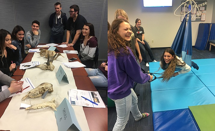 A group of 40 Sports Medicine students from Mingus Union High School, supervised by MUHS Sports Medicine teacher Mike Boysen, drove to Glendale to attend Midwestern University's Health Science Career Day.