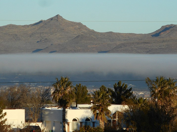This photo was taken Wednesday morning from the Hualapai Foothills looking toward Stockton Hill Rd. and Highway 40.(Photo courtesy Laurie Sanchez)