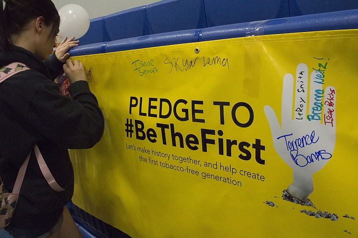 Students at Kingman Academy of Learning High School participated in Kick Butts Day to encourage peers to be the first generation to be tobacco free. The event is sponsored by the CVS Health Foundation. (Photo by Vanessa Espinoza/Daily Miner)