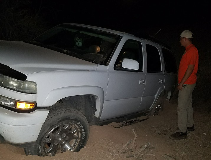 The four-wheel drive vehicle got stranded in a wash while he was trying to fish the north side of Alamo Lake. (Courtesy Photo)