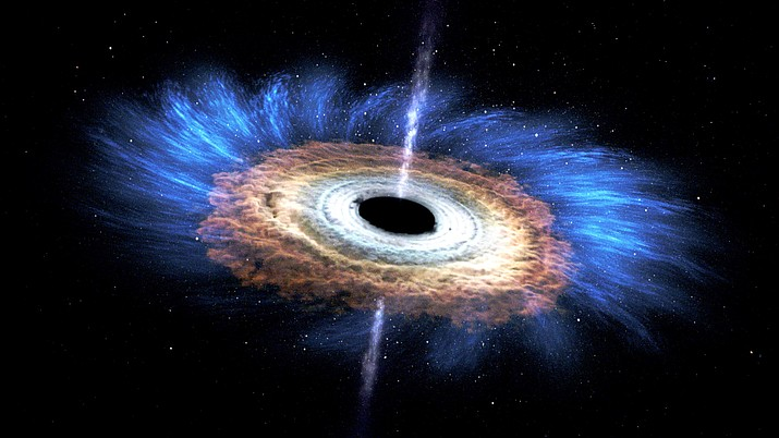 This artist's rendering shows the tidal disruption event named ASASSN-14li, where a star wandering too close to a 3-million-solar-mass black hole was torn apart. The debris gathered into an accretion disk around the black hole. Data from NASA's Swift satellite show that the initial formation of the disk was shaped by interactions among incoming and outgoing streams of tidal debris. (NASA's Goddard Space Flight Center)