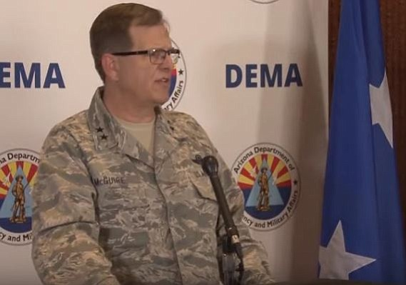 Captain Aaron Thacker, Arizona National Guard Public Affairs Officer announced details about Operation Guardian Shield on Monday. (Image screen grab from Cronkite News on www.kdminer.com)