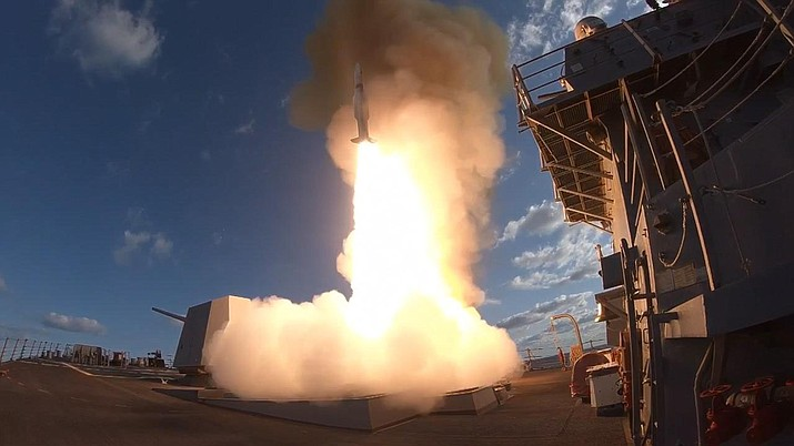 """President Donald Trump on Saturday declared """"Mission Accomplished"""" for a U.S.-led allied missile attack on Syria's chemical weapons program (U.S. Navy photo by Lt. Jared Hallahan/Released)"""