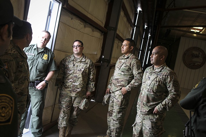 The New Mexico Army National Guard Liaison Team visited the U.S. Border Patrol El Paso Sector to meet and coordinate preparations for their upcoming deployment in support of border security operations April 7, 2018. Left to Right: LTC D. Hughes, USBP Operations Officer A. Buckert, MAJ C. Silva, MAJ S. Hands, NM Task Force Commander LTC G. Vargas. (Photo by U.S. Border Patrol Agent Marcus Trujillo)