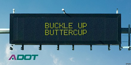 The first place winner of the Safety message contest. Tasha Anderson, Susan Henry, Dianna Schoening and Lily Hutt all submitted the idea. (Photo Courtesy of ADOT)