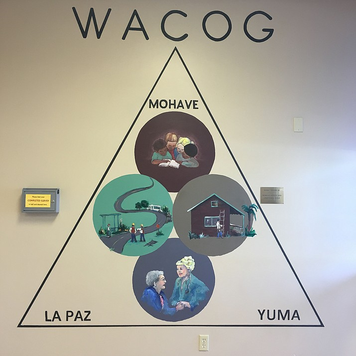 The WACOG mural represents the different western Arizona counties that the organizations offers its services to. (Photo by Vanessa Espinoza/Daily Miner)