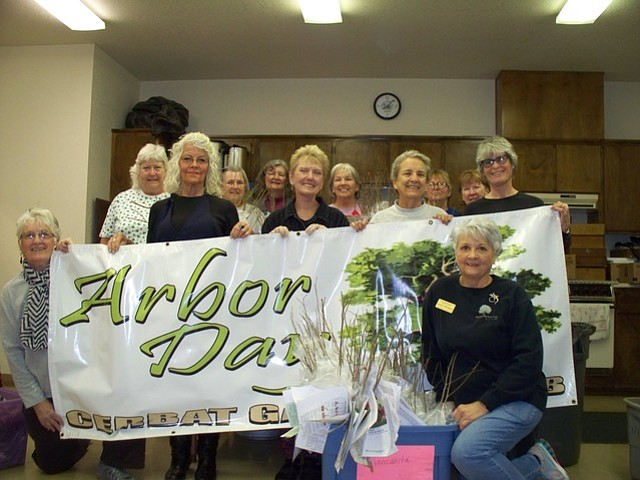 Cerbat Garden members and friends gathered to package 330 hackberry saplings to deliver to the area fifth graders who entered the Cerbat Garden Club's annual Arbor Day poster contest. (Courtesy Photo)