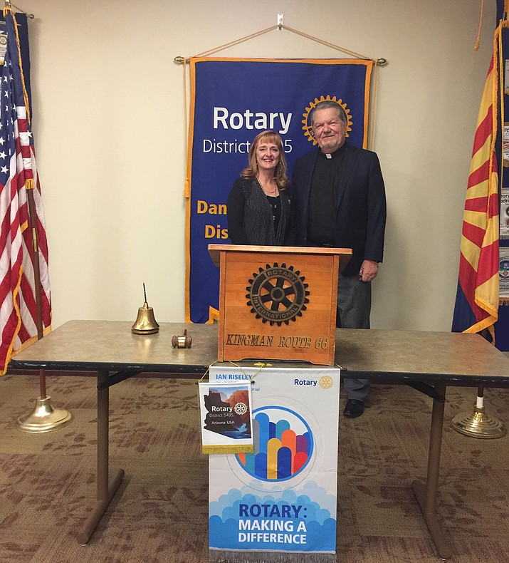 Featured speaker at Kingman Route 66 Rotary Club's March 30 meeting was Rev. Michael Birnbaum, pastor of Living Word Lutheran Church (shown with club president Susan Williams).