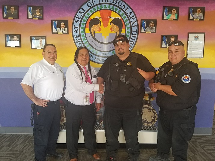 From left, Lopez, Tribal Chairman Damon Clarke, Officer Henson and Division Chief Duane Clarke. (Photo courtesy of HNSE)
