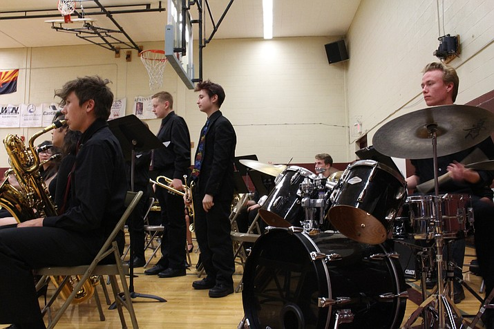 Kingman High School Jazz Ensemble performing during the Kingman Unified School District band festival and will also be preforming during their Jazz Dinner event Tuesday evening at 312 Beale St. (Photo by Vanessa Espinoza/Daily Miner)