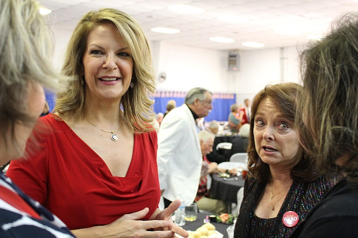 Dr. Kelli Ward, running for U.S. Senate after Sen. Jeff Flake's seat, at the 2018 Patriots Dinner Saturday talking and mingling with citizens of Mohave County. (Photo by Vanessa Espinoza/Daily Miner)