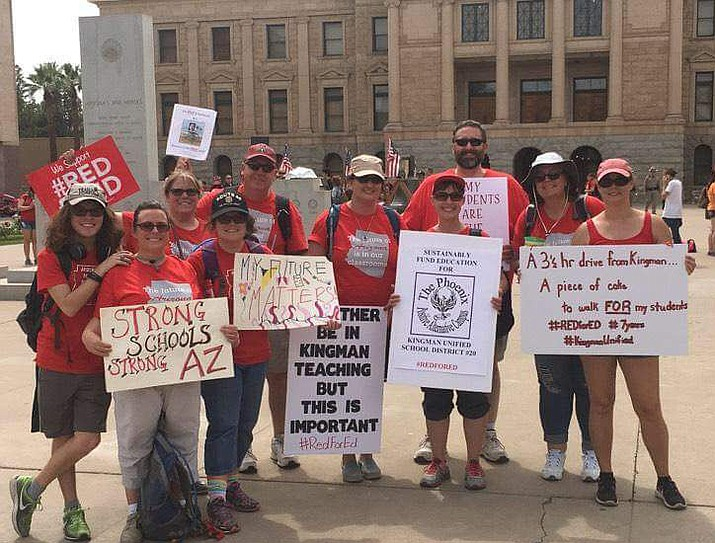 Kingman educators took the three hour drive down to Phoenix for the April 26 #RedForEd rally at the capitol. (Photo courtesy of Jennifer Potter)