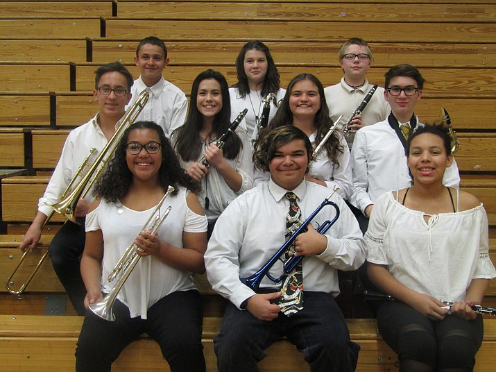 Front row (left to right): Raylynn Arenibas (trumpet), Chris Martinez (trumpet), Danielle Van Ausdle (oboe). Second row (left to right): Tanden Ry-Allen Davis (trombone), Treschelle Bond (clarinet), Isabella Whitton (flute), Sean Hernandez (alto saxophone). Third row (left to right): Evan Martinez (percussion), Ariana Taylor (bass clarinet), Micheal Cooper (clarinet)
