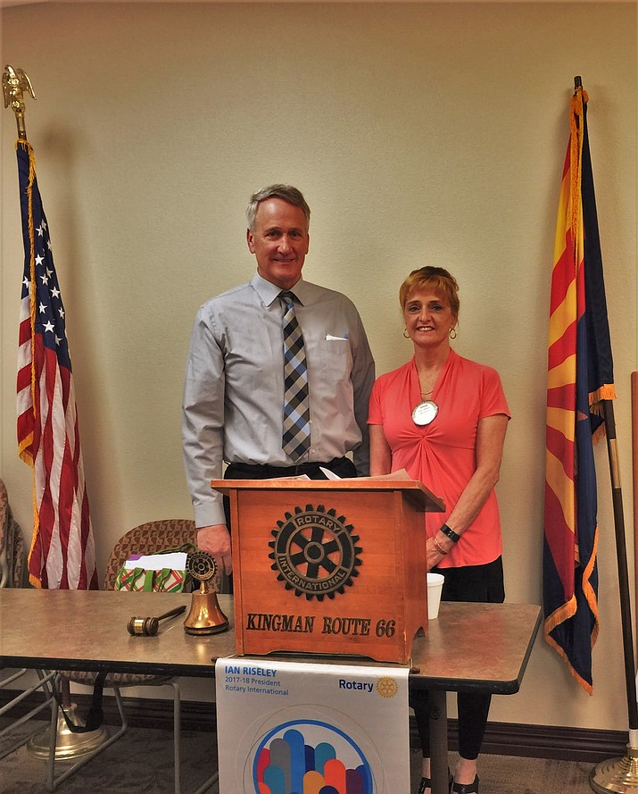 Dr. Michael J. Kearns, President of Mohave Community College and Susan Williams, club president.