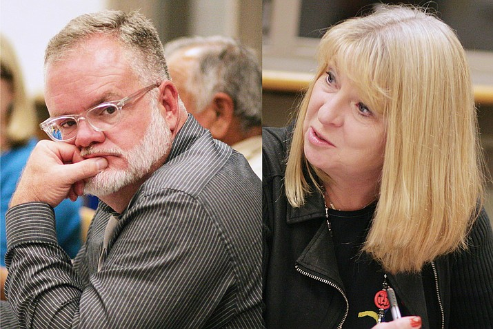 "Following close to an hour in executive session, Mingus Union School Board member Jim Ledbetter (left) motioned that District Superintendent Penny Hargrove (right) be placed on a 10-day paid administrative leave for ""serious missteps in handling of the processes"" connected to AzMERIT testing problems in April. VVN/Bill Helm"