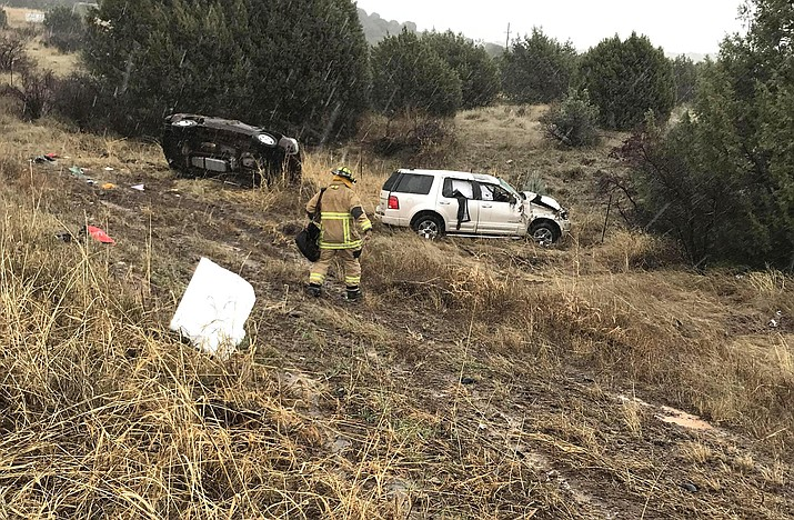 Firefighters from Verde Valley and Copper Canyon fire districts respond to an accident Sunday on I-17 northbound at milepost 278. Photo courtesy Copper Canyon Fire and Medical District