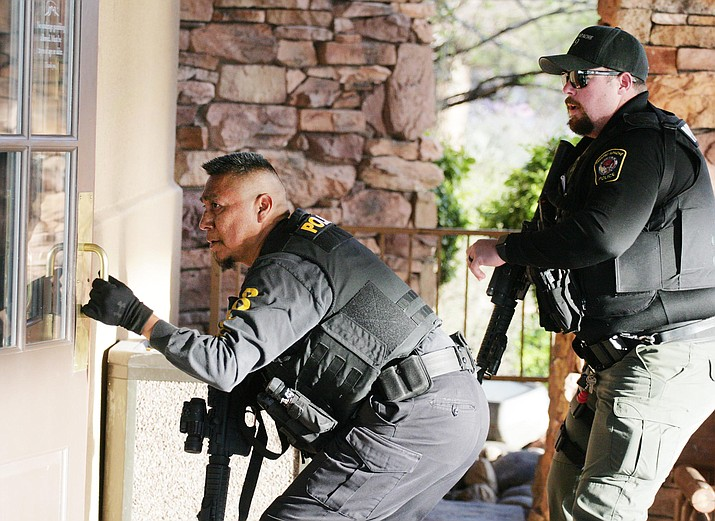 First responders from the Yavapai-Apache Police Department, Camp Verde Marshal's Office and Copper Canyon Fire and Medical District take part in an emergency preparedness drill from 7 a.m. until 9 a.m. at Cliff Castle Casino Hotel.