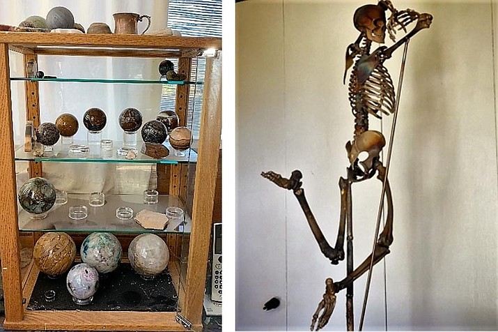 Eight spheres stolen, some pictured above left and constructed of various materials. Those identified include a three-inch meteorite sphere valued at $2500 value, a three-inch Basalt sphere with see thru tubes valued at $90, and a six-inch petrified wood sphere valued at $600. Photo at right, Skeleton bronze stolen, anatomically correct in a dance position, arms raised above head, legs leaping, about three foot tall and 30 pounds. Valued at more than $6000. Photos courtesy Yavapai County Sheriff's Office