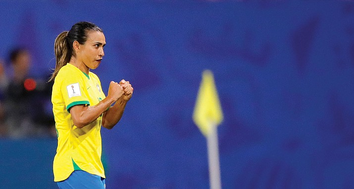 Brazil's Marta reacts during the Women's World Cup Group C match between Italy and Brazil at the Stade du Hainaut in Valenciennes, France, Tuesday, June 18, 2019. (Michel Spingler/AP)