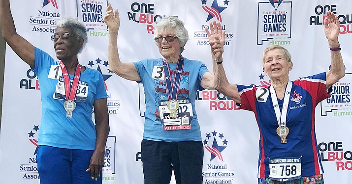 In the 90-to-94-year-old age category, Cottonwood resident Betty Gaudy finished in first place in the 50-meter race at the 2019 National Senior Games in Albuquerque. Photo courtesy Glenna Gaudy