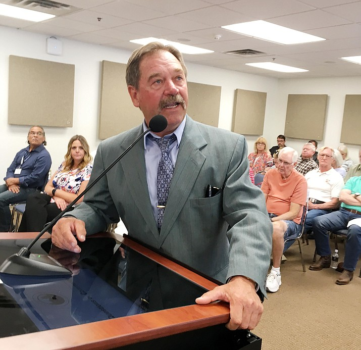"""Wednesday, Yavapai County Sheriff Scott Mascher talked to the county's Board of Supervisors about the proposed increase in property taxes. """"This is a very difficult decision to make, what we're going to do here in Yavapai County,"""" he said. VVN/Bill Helm"""