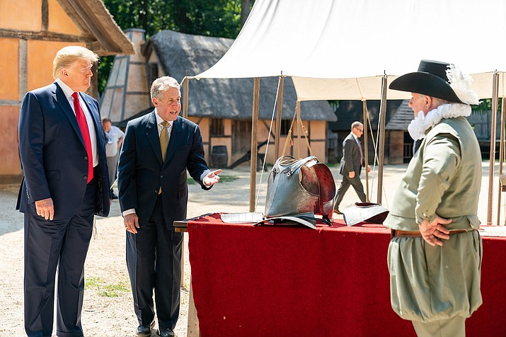 President Donald J. Trump tours the James Fort Replica with Philip Emerson, Executive Director of the James-Yorktown Foundation, Inc. on Tuesday, July 30, 2019, at Jamestown Settlement Museum in Williamsburg, Virginia.