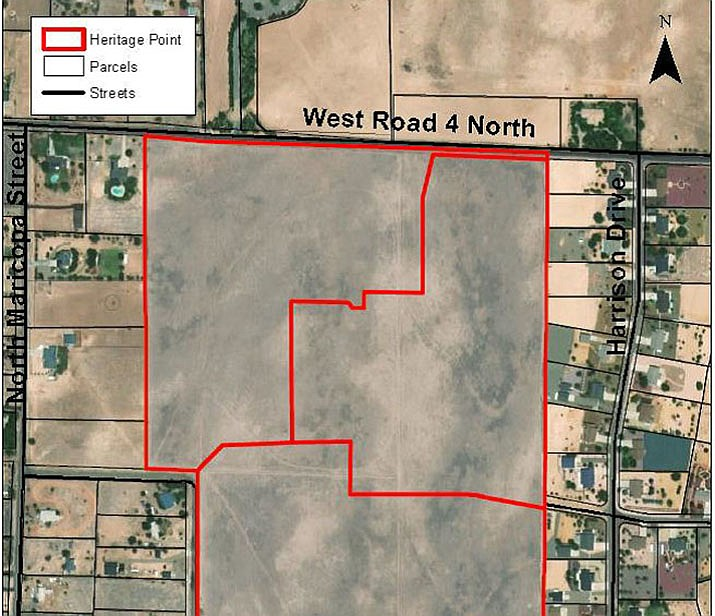 The location of the planned Heritage Point subdivision. The Chino Valley Planning & Zoning Commission forwarded the preliminary plat for the proposed development to the Chino Valley Town Council at its meeting Tuesday, Aug. 6. Located one-quarter mile west of the southwest corner of North Road 1 West and West Road 4 North, the plat subdivides about 89.9 acres into 75 one-acre lots to be developed in four phases. It's surrounded by other subdivisions, said Town Planner Alex Lerma. (Town of Chino Valley/Courtesy)