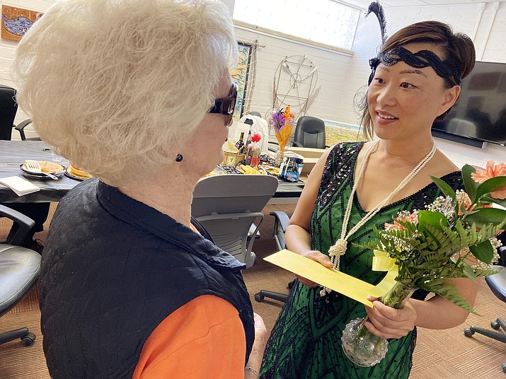 Sebra Choe, right, talks with Camp Verde Visitor Center employee Gerry Dillinger. Choe is leaving the Town of Camp Verde's Economic Development Department to work in the private sector. VVN/Bill Helm