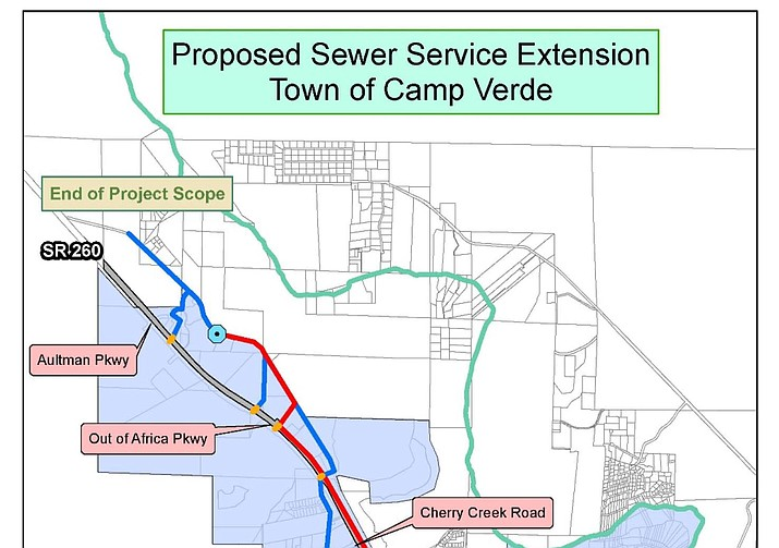 Proposed sewer service extension, Town of Camp Verde. Courtesy Town of Camp Verde