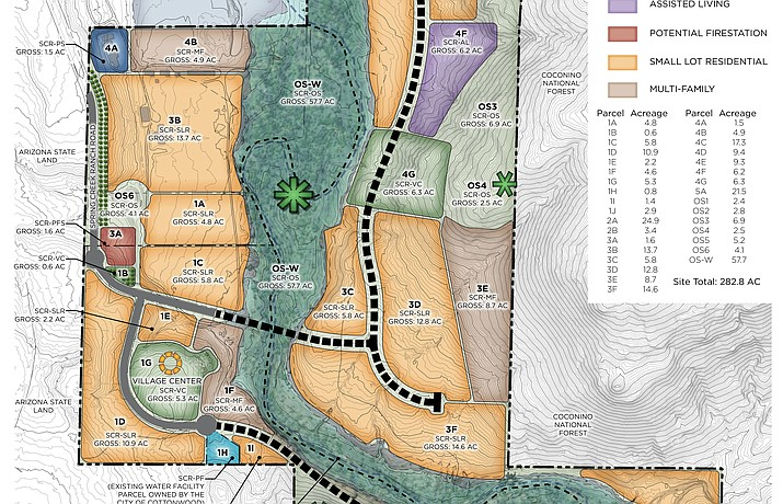 A revised plan has been submitted to Yavapai County Development Services for the mixed-use Spring Creek Ranch development along State Route 89A, which is significantly scaled back from a proposal submitted last fall. However, the new proposal, if approved, would still bring thousands of new residents or visitors to what is now a rural part of the Verde Valley.  Photo courtesy Yavapai County.