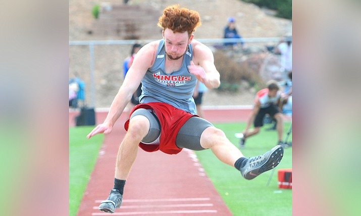 With a best effort of 20-feet, 10.5-inches in the long jump, Mingus Union sophomore Brasen Durkalec has the eighth best Division III long jump in Arizona this year. VVN/Vyto Starinskas